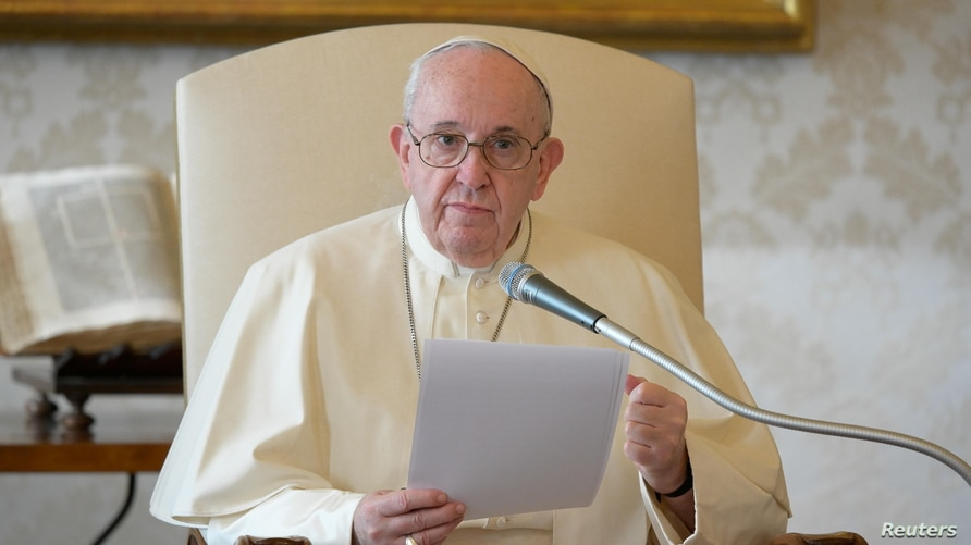 Pope Francis delivers his weekly general audience from the library in the Apostolic Palace at the Vatican, Nov. 11, 2020.