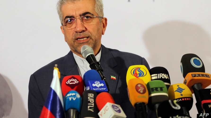 Iran's Minister of Energy Reza Ardakanian attends a joint press conference with Russia's Minister of North Caucasus Affairs in…
