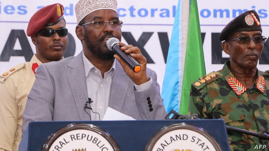 """Ahmed Mohamed Islam better known as """"Ahmed Madobe"""" (C), speaks after his reelection as President of Jubaland, a semi-autonomous…"""