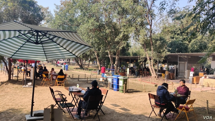 A cafe inside Delhi's biggest park, Sunder Nursery, attracts customers as falling infections encourage people to venture out.