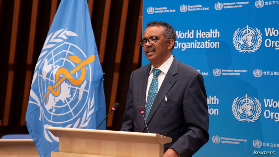 FILE - Tedros Adhanom Ghebreyesus, director general of World Health Organization (WHO) speaks at the virtual 73rd World Health Assembly (WHA) following the coronavirus disease (COVID-19) outbreak in Geneva, Switzerland, May 18, 2020.
