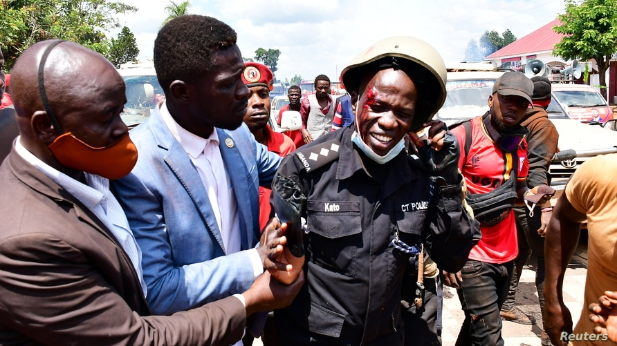 SENSITIVE MATERIAL. THIS IMAGE MAY OFFEND OR DISTURB    Ugandan pop star and presidential candidate Robert Kyagulanyi, also…