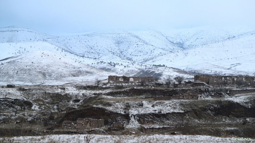 A view shows the area, which came under the control of Azerbaijan's troops following a military conflict over Nagorno-Karabakh…