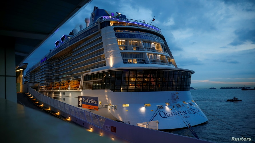 Royal Caribbean's Quantum of the Seas cruise ship is moored at Marina Bay Cruise Center after a passenger tested positive for coronavirus disease (COVID-19) during a cruise to nowhere, in Singapore, Dec. 9, 2020.