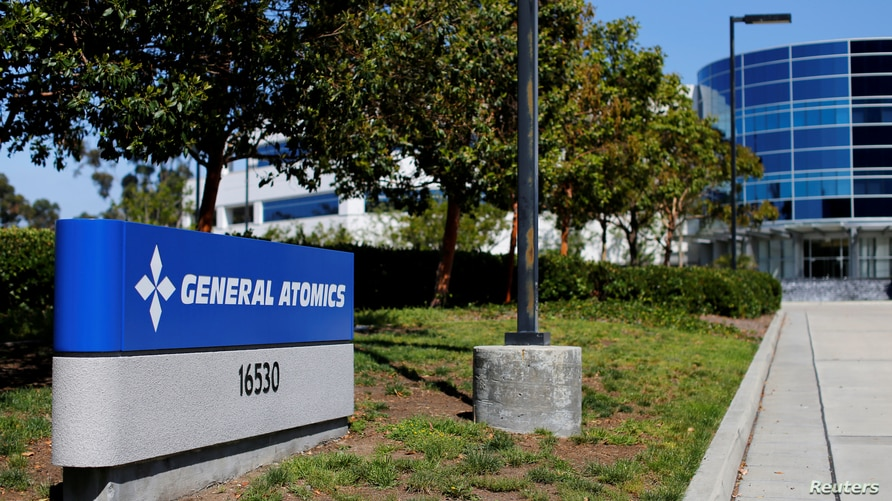 FILE PHOTO: Sign at a General Atomics office complex is shown in Rancho Bernardo, California May 12, 2016.   REUTERS/Mike Blake…