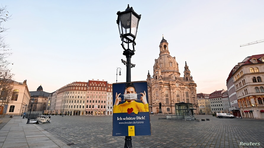General view of the empty Neumarkt square during the local coronavirus disease (COVID-19) lockdown in Dresden, Germany,…