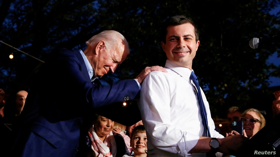 FILE PHOTO: Former Democratic presidential candidate Pete Buttigieg endorses former U.S. Vice President Joe Biden at Chicken…
