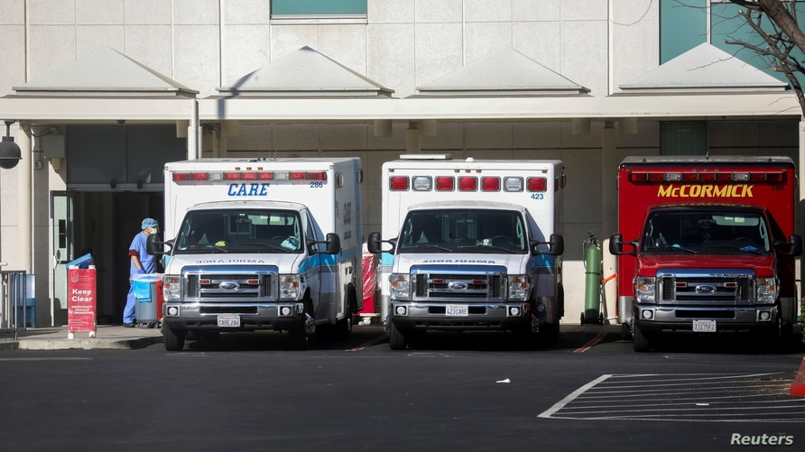 Ambulances are seen outside of St. Francis Medical Center emergency room during a surge of coronavirus disease (COVID-19) cases…