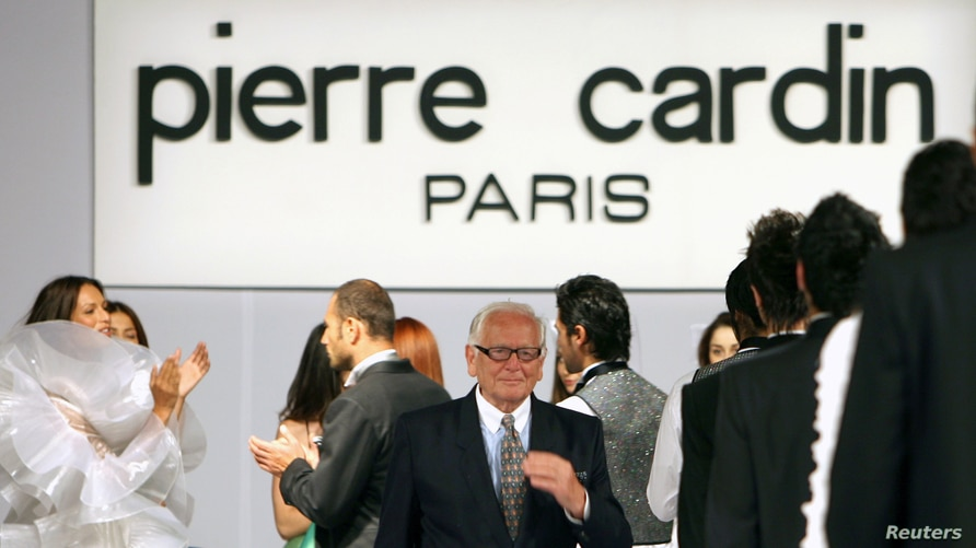 FILE PHOTO: French fashion designer Pierre Cardin receives applause by models following his fashion show at Ciragan Palace in…