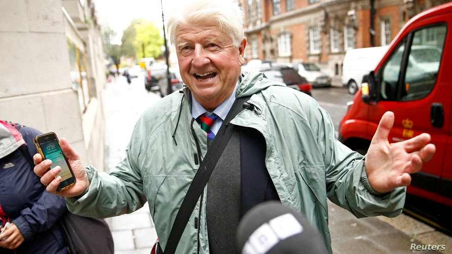 FILE PHOTO: Stanley Johnson, father of Britain's Prime Minister Boris Johnson, is seen in Westminster, in London, Britain…