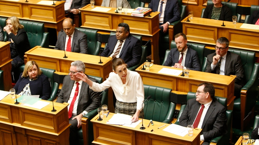 New Zealand Prime Minister Jacinda Ardern speaks in the parliament on Wednesday, Dec. 2, 2020, in Wellington.