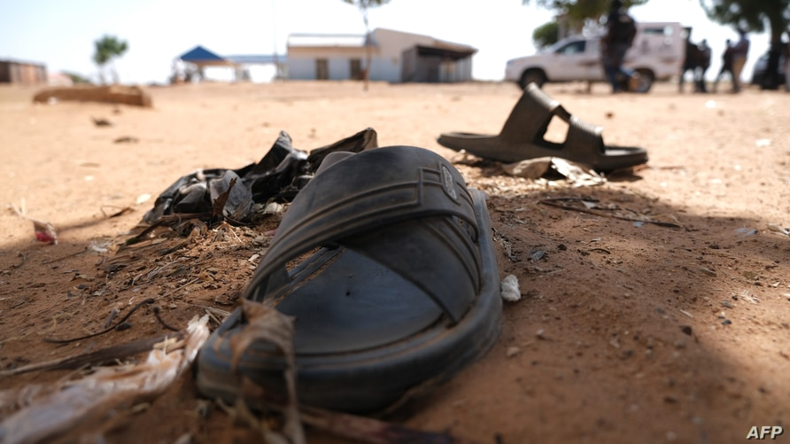 A student footwear is left behind after gunmen abducted students at the Government Science school in Kankara, in northwestern Katsina state, Nigeria, Dec. 15,  2020.