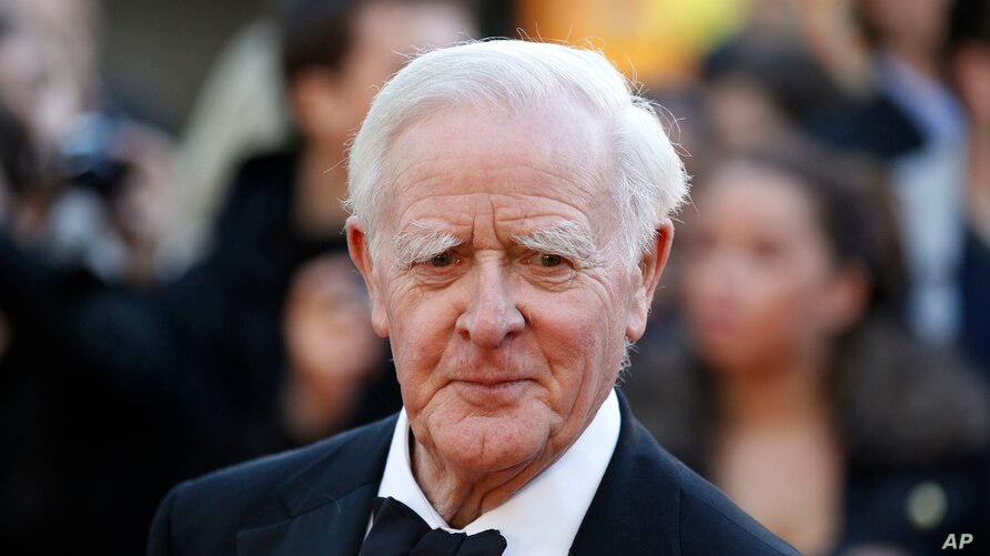 "FILE - British author John Le Carre is seen at the UK film premiere of ""Tinker Tailor Soldier Spy,"" in London, Sept. 13, 2011."