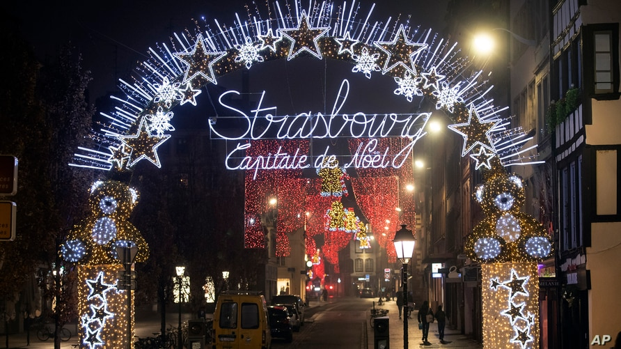 Christmas lightings are seen where the Christmas market usually takes place in Strasbourg, eastern France, Nov. 27, 2020.