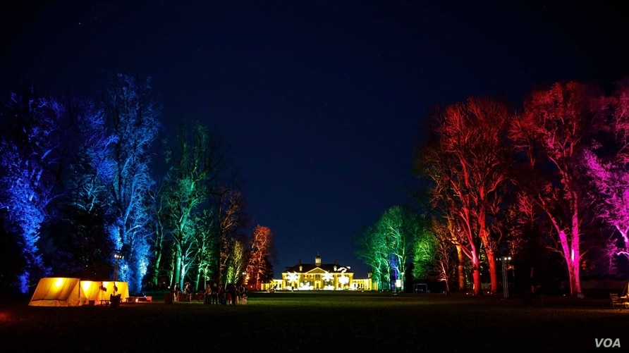 "The mansion and trees are lit up for visitors to enjoy during the ""Winter Glow"" events at the estate during the holiday. (photo: Buddy Secor)"