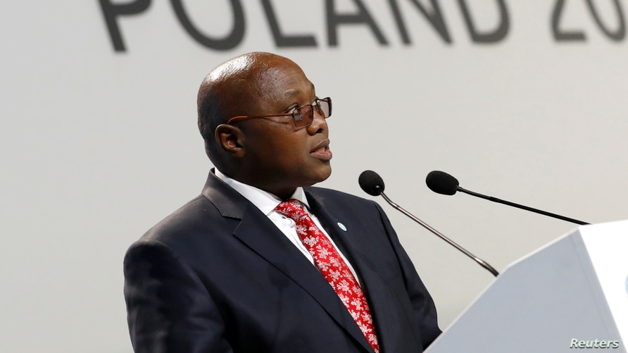 FILE - Prime Minister of Eswatini Ambrose Dlamini speaks during the COP24 U.N. Climate Change Conference 2018 in Katowice, Poland, Dec. 3, 2018.