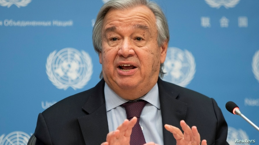 United Nations Secretary-General Antonio Guterres speaks during a news conference at U.N. headquarters in New York, Nov. 20, 2020.