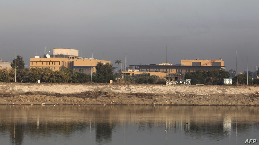 (FILES) This file photo taken on January 3, 2020 shows a general view of the US embassy across the Tigris river in Iraq's…