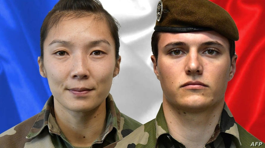 A combination released by the press office of the French army (Sirpa) shows sergeant Yvonne Huynh (L) and…