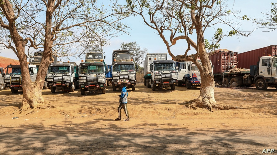 A general view of the parking lot at the border of Garoua-Boulai, Cameroon, on January 8, 2021. - The border post of Garoua…