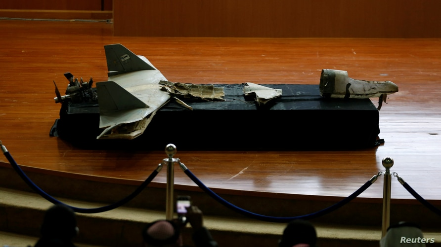 A destroyed drone is seen at the news conference in Riyadh, Saudi Arabia January 20, 2019. REUTERS/Faisal Al Nasser