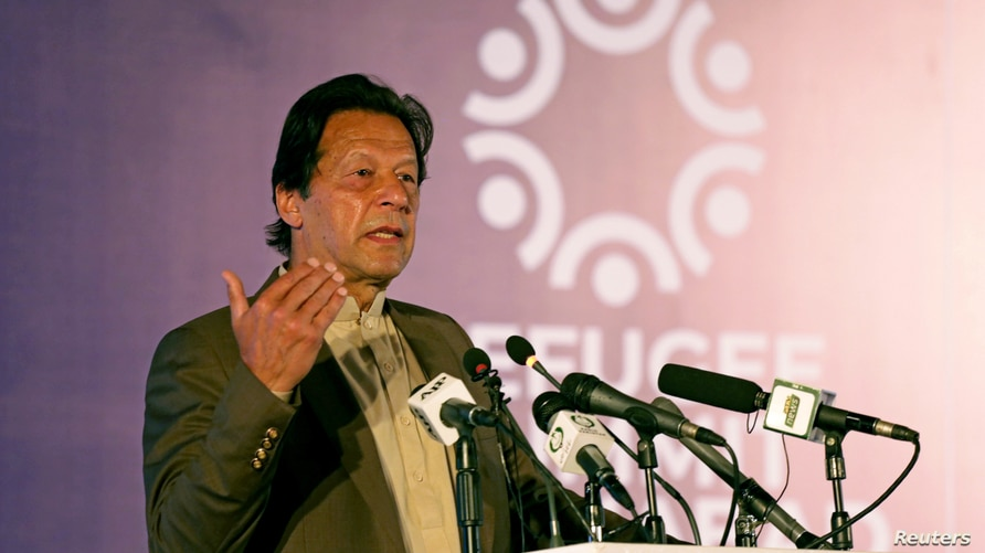 FILE - Pakistan's Prime Minister Imran Khan speaks during an international conference in Islamabad, Pakistan, Feb. 17, 2020.