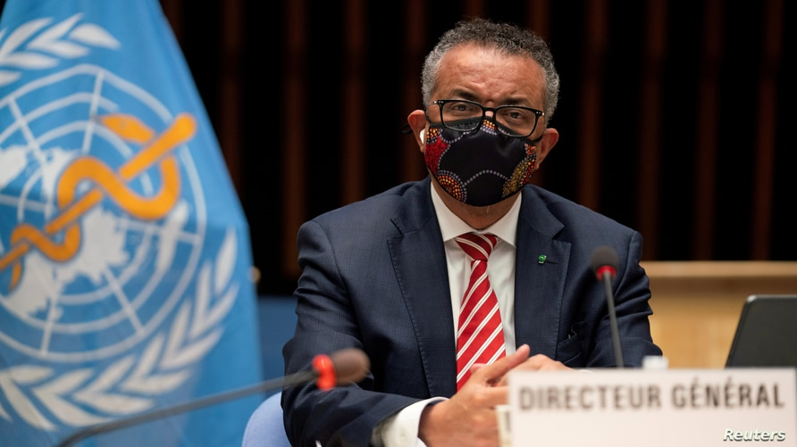 FILE - Tedros Adhanom Ghebreyesus, Director General of the World Health Organization (WHO) attends a session on the coronavirus disease (COVID-19) outbreak response of the WHO Executive Board in Geneva, Switzerland, Oct. 5, 2020.