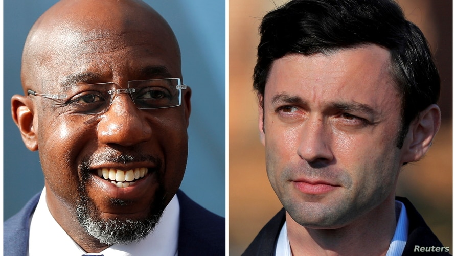 Democratic U.S. Senate candidates Rev. Raphael Warnock and Jon Ossoff are seen in a combination of file photographs.