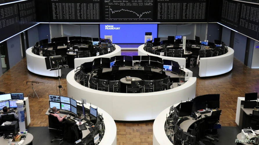 The German share price index DAX graph is pictured at the stock exchange in Frankfurt, Germany, Jan. 11, 2021.