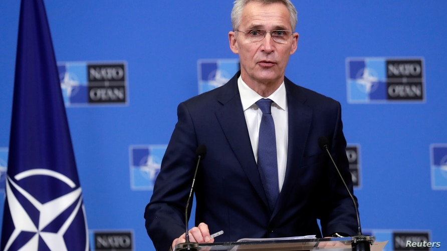 NATO Secretary General Jens Stoltenberg gives a press briefing after a meeting with President of Mauritania Mohamed Ould El-Ghazouani at the Alliance headquarters in Brussels, Belgium,  Jan. 14, 2021.