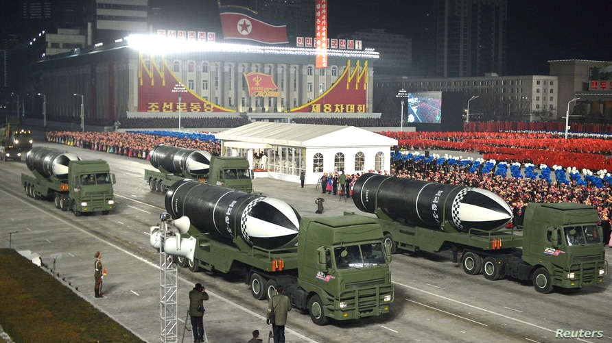 Military equipments are seen during a military parade to commemorate the 8th Congress of the Workers' Party in Pyongyang.