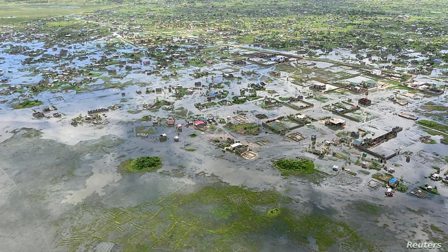 Aerial view of flooding after Tropical Cyclone Eloise, in Beira, Mozambique January 22, 2021 in this image obtained from social…