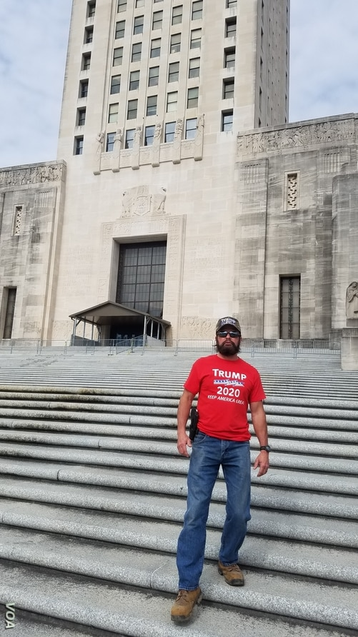 James Kent came to the Lousiana State Capitol Building in Baton Rouge on January 20, 2021 to protest the inauguration of Joseph R. Biden as the 46th President of the United States.
