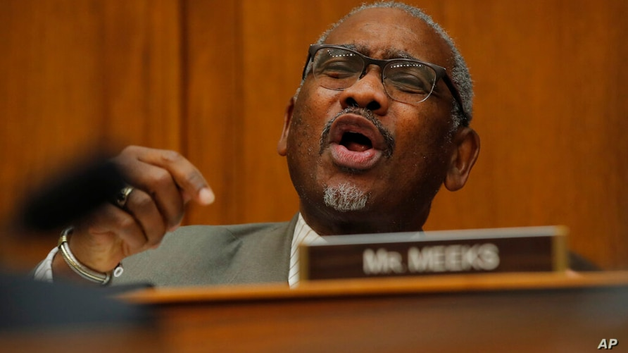 Rep. Gregory Meeks, D-NY., questions Secretary of State Mike Pompeo during a House Foreign Affairs Committee hearing in…