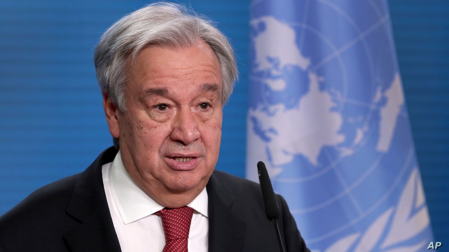 FILE - UN Secretary-General Antonio Guterres addresses the media.