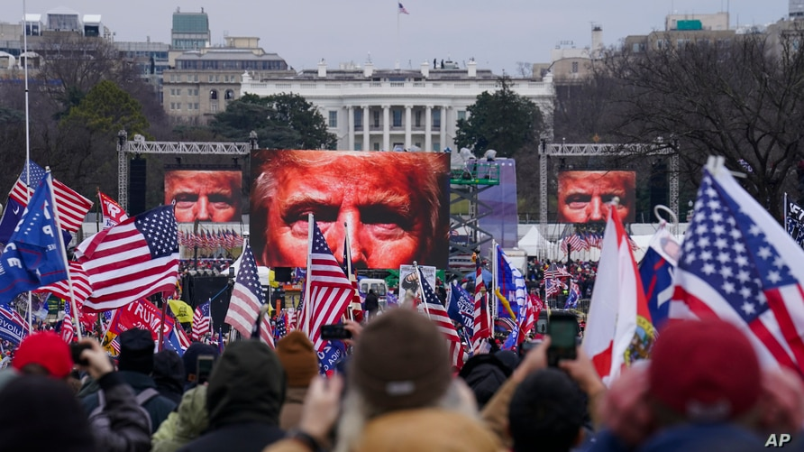 Trump supporters participate in a rally in Washington, Jan. 6, 2021.