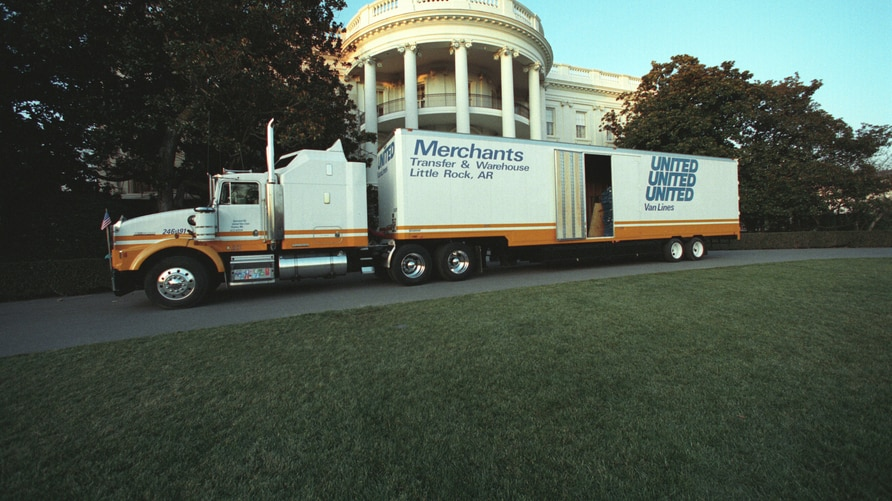 A moving van from President Bill Clinton's native Arkansas parked at the White House on Inauguration Day, January 20, 1993. (Clinton Library)