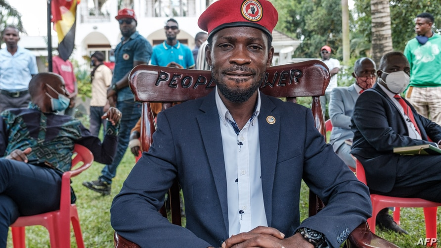 Ugandan opposition leader Robert Kyagulanyi, also known as Bobi Wine, poses for a photo after his press conference at his home in Magere, Uganda, Jan. 26, 2021.