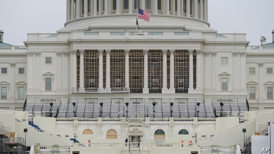 Preparations take place for President-elect Joe Biden's inauguration on the West Front of the U.S. Capitol in Washington, Jan. 8, 2021, after supporters of President Donald Trump stormed the building.