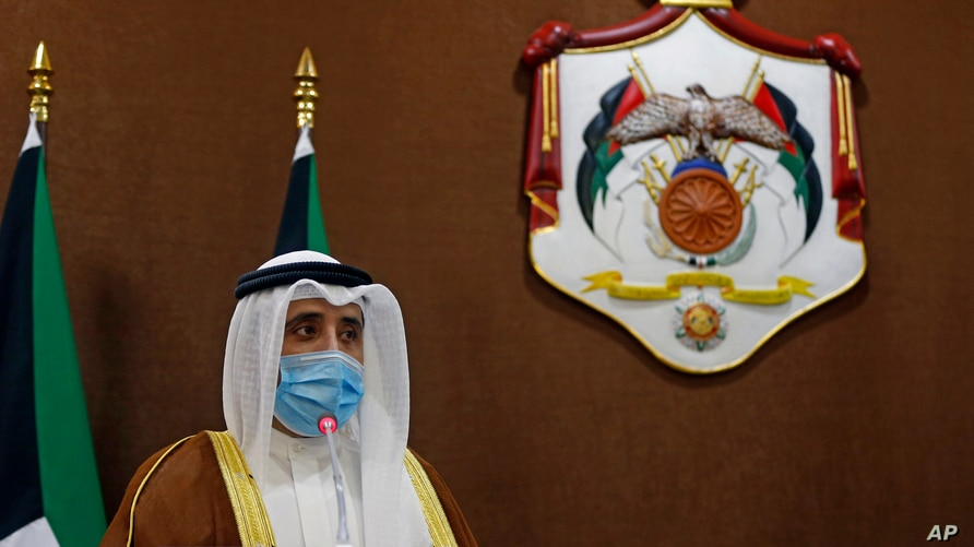 Kuwaiti Foreign Minister Ahmad Nasser al-Sabah speaks during a news conference in Amman, Jordan, Oct. 19, 2020.