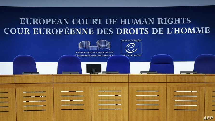 This photo shows the inside of the European Court of Human Rights (ECHR) in Strasbourg, eastern France, on February 7, 2019. …