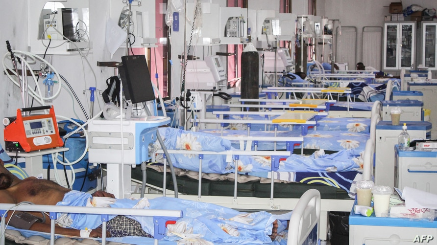 Beds are set for patients who are infected with the coronavirus (COVID-19) in the Intensive Care Unit (ICU) at Martini hospital…
