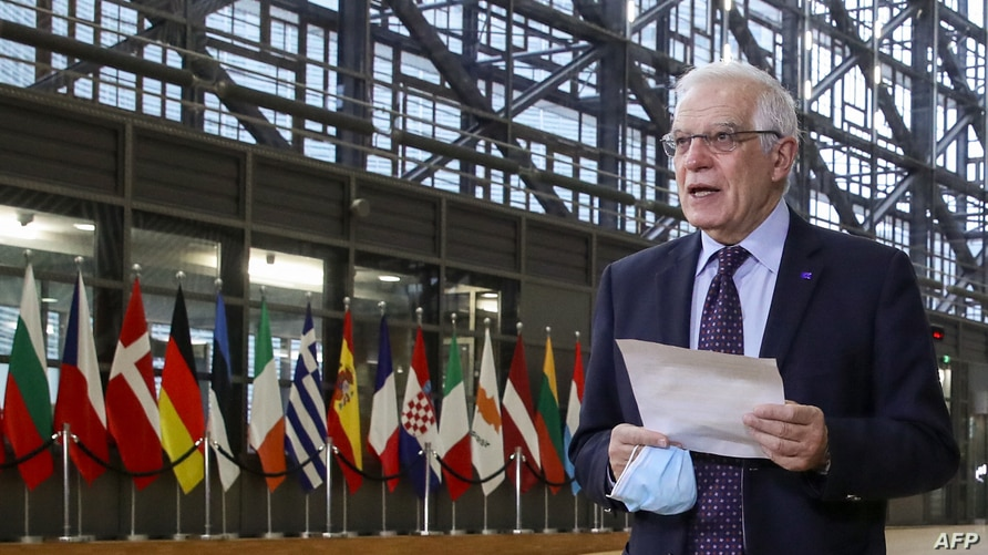 EU High Representative of the Union for Foreign Affairs and Security Policy Josep Borrell talks to the press as he arrives to…