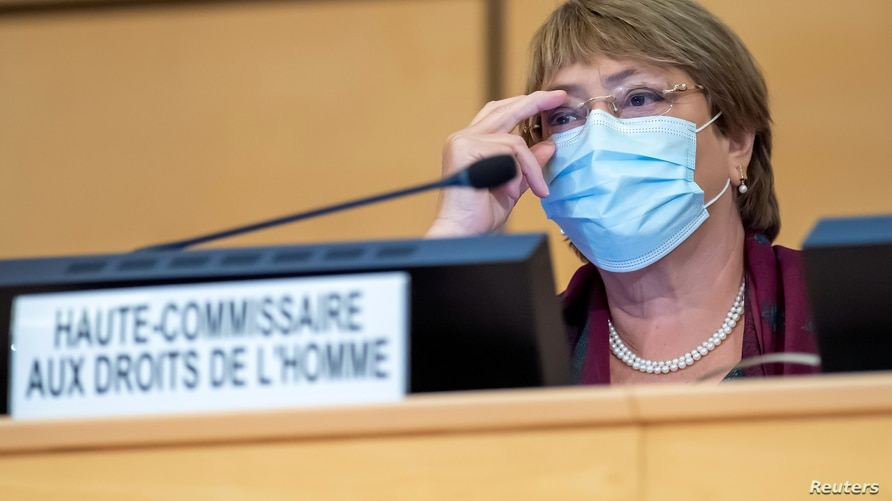 United Nations' High Commissioner for Human Rights Michelle Bachelet adjusts her glasses during the opening of 45th session of…