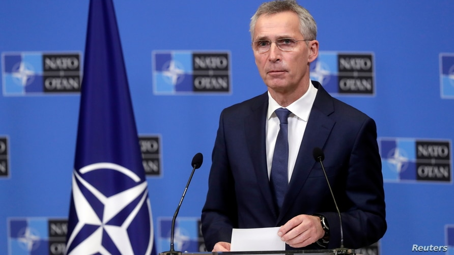 FILE - NATO Secretary General Jens Stoltenberg gives a press briefing at the Alliance headquarters in Brussels, Belgium, Jan. 14, 2021.