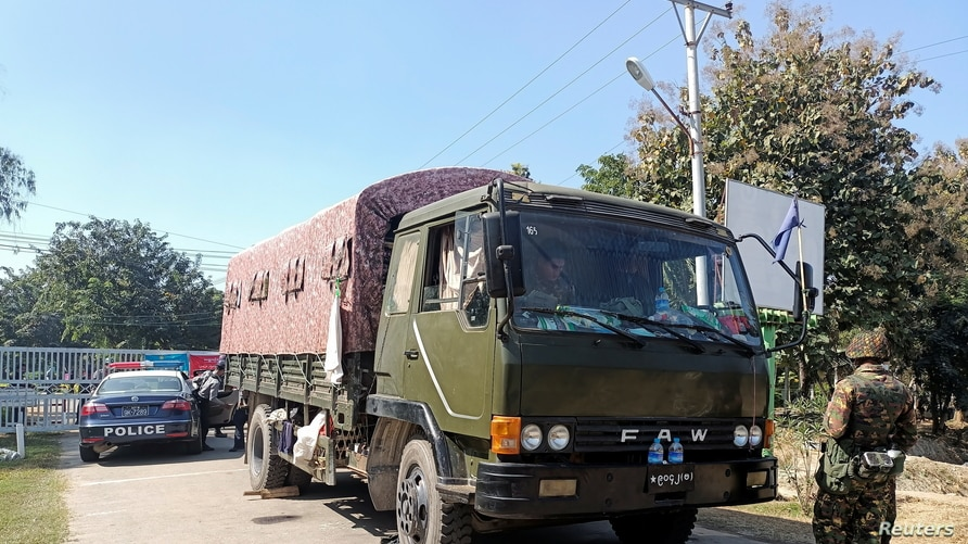 An army vehicle is parked outside the parliament members' residence after Myanmar army seized power in a coup.
