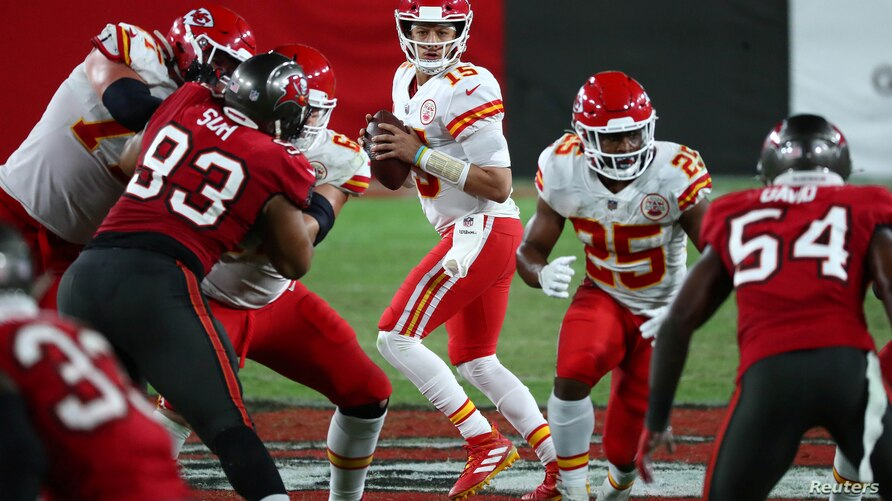 FILE - Kansas City Chiefs quarterback Patrick Mahomes drops back to pass against the Tampa Bay Buccaneers at Raymond James Stadium in a regular season prelude to the teams' match-up at Sunday's Super Bowl, Nov 29, 2020. Kim Klement-USA TODAY Sports.