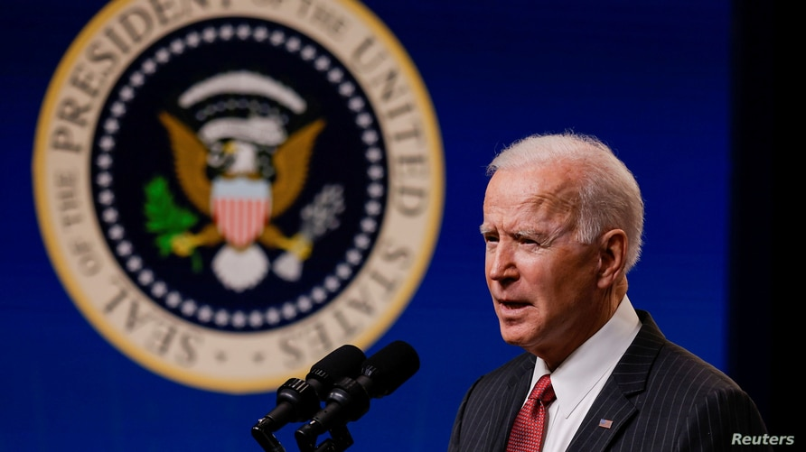 U.S. President Joe Biden delivers remarks on the political situation in Myanmar at the White House.