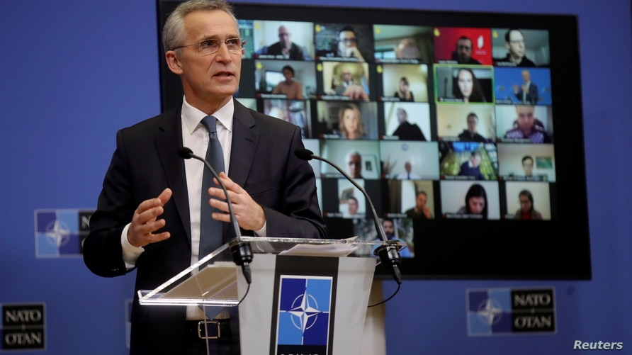 View of the room as NATO Secretary General Jens Stoltenberg gives a news conference ahead of a NATO defence ministers council…