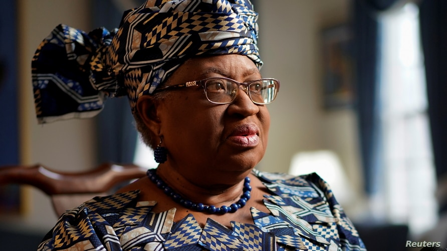 Incoming World Trade Organization President (WTO) Ngozi Okonjo-Iweala speaks during an interview with Reuters in Potomac,…